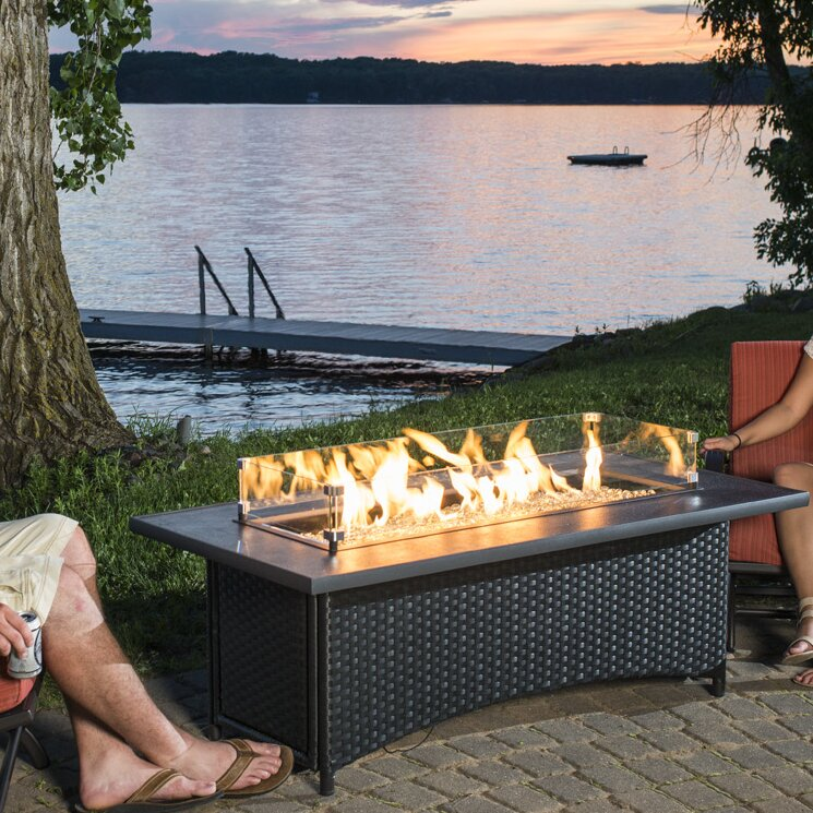 65,000 BTU Outdoor Great Room Montego Crystal Fire Pit Coffee Table with Balsam Wicker Base