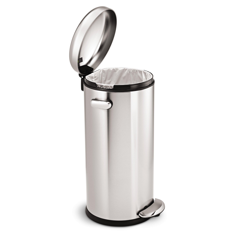 simplehuman 7 9 gallon step on steel trash can wayfair. Black Bedroom Furniture Sets. Home Design Ideas