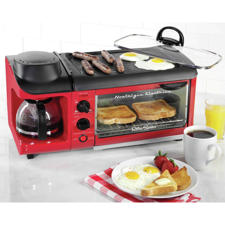 Nostalgia Electrics Retro Series 4slice 3in1 Breakfast Station Toaster  Nostalgia Electrics Retro Series 4slice 3in1 Breakfast