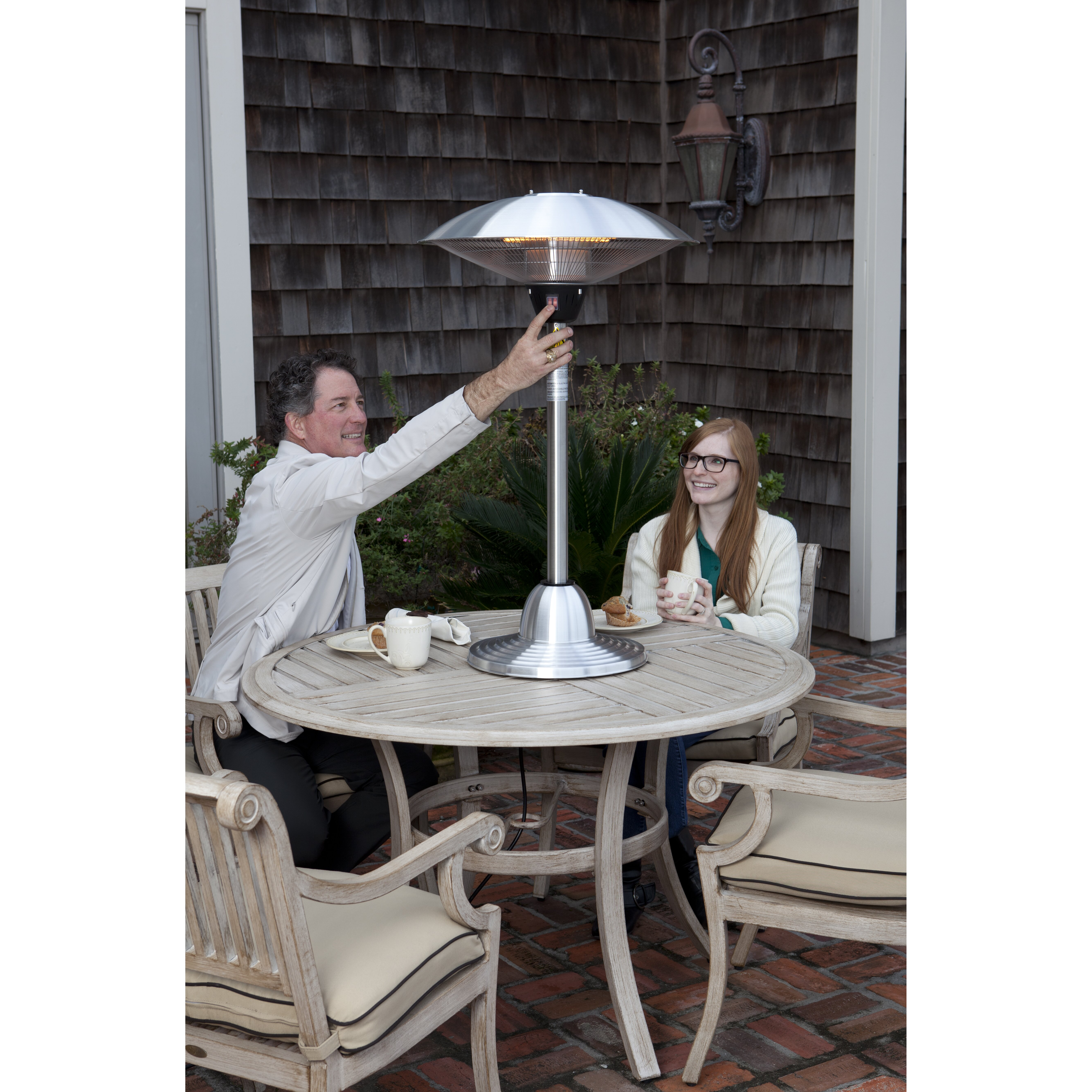 Fire Sense Stainless Steel Tabletop Electric Halogen Patio Heater
