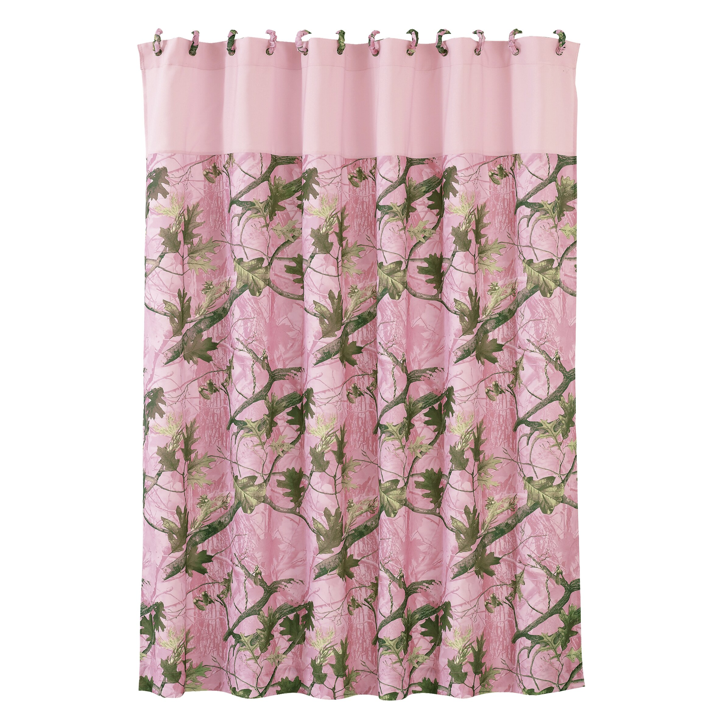 Hiend Accents Pink Oak Camo Polyester Shower Curtain