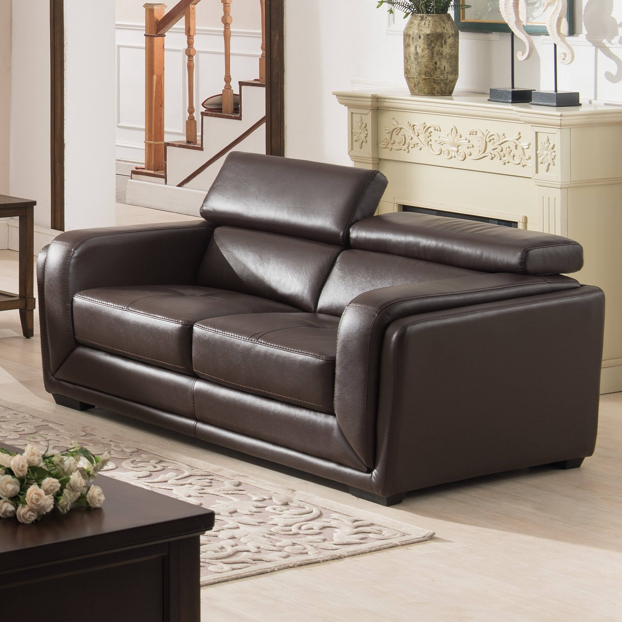 ac pacific calvin modern 2 piece leather living room set