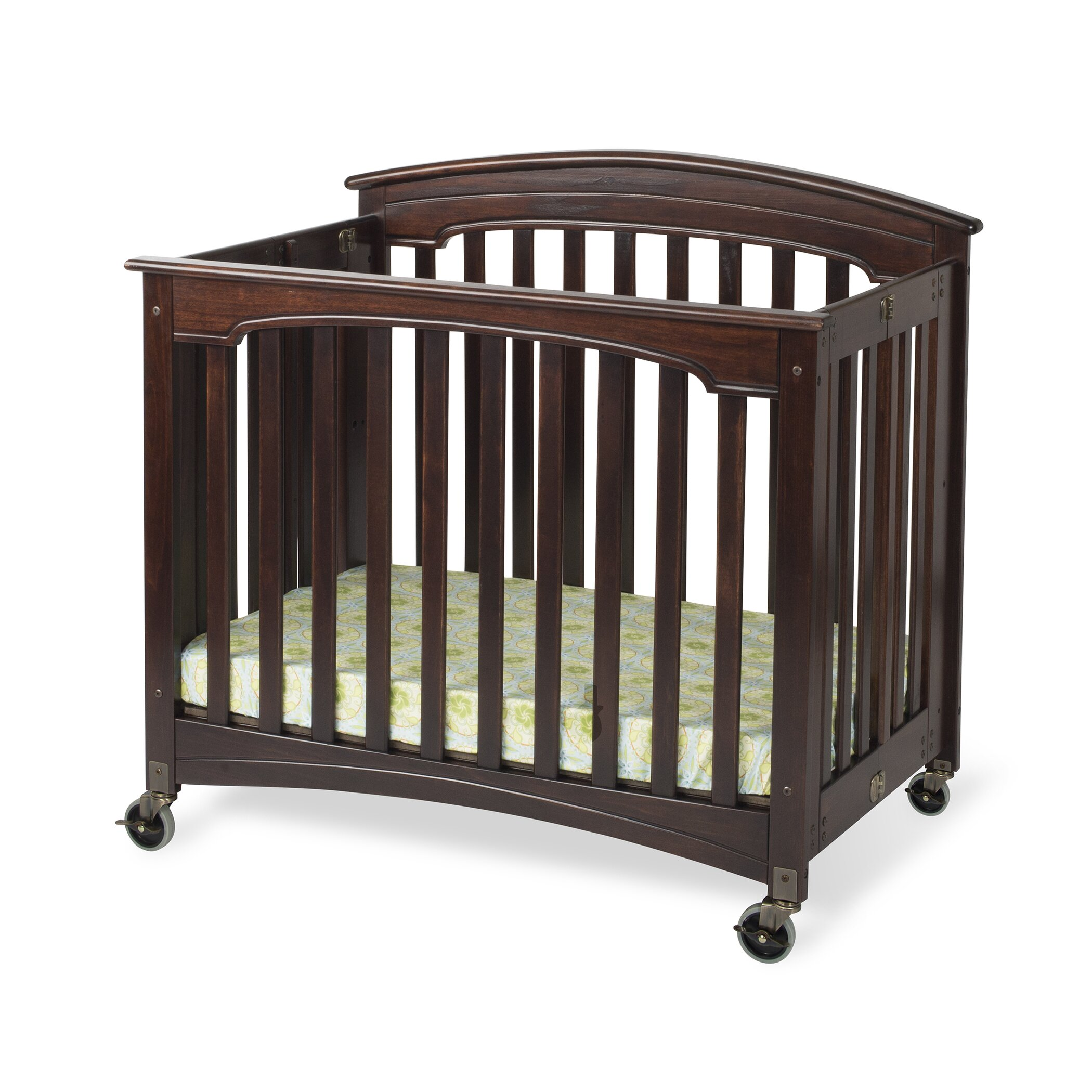 Ellery round crib for sale - Royale Fixed Side Folding Compact Convertible Crib With Mattress