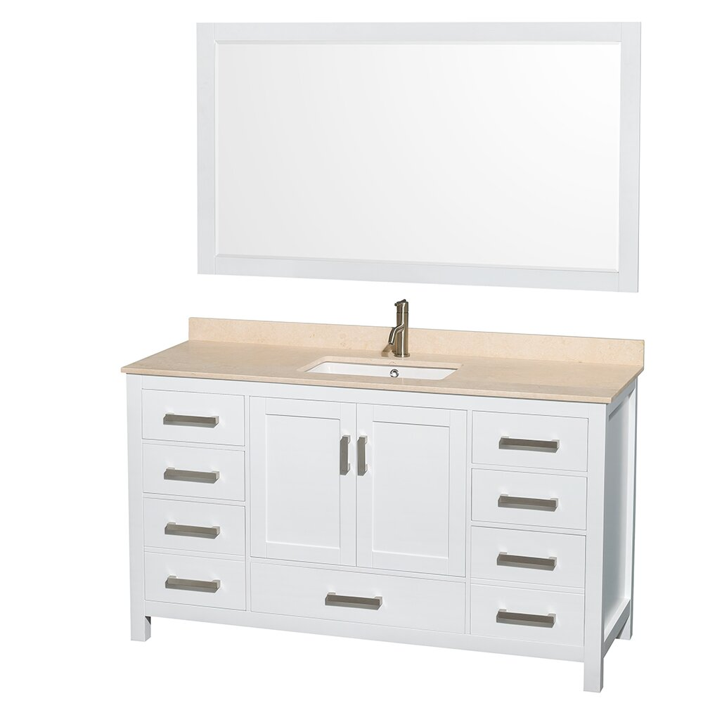 "wyndham collection sheffield 60"" single white bathroom vanity set"