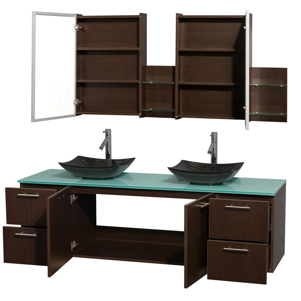 """Wyndham Collection Amare 72"""" Double Espresso Bathroom Vanity Set With Medicine Cabinet & Reviews"""