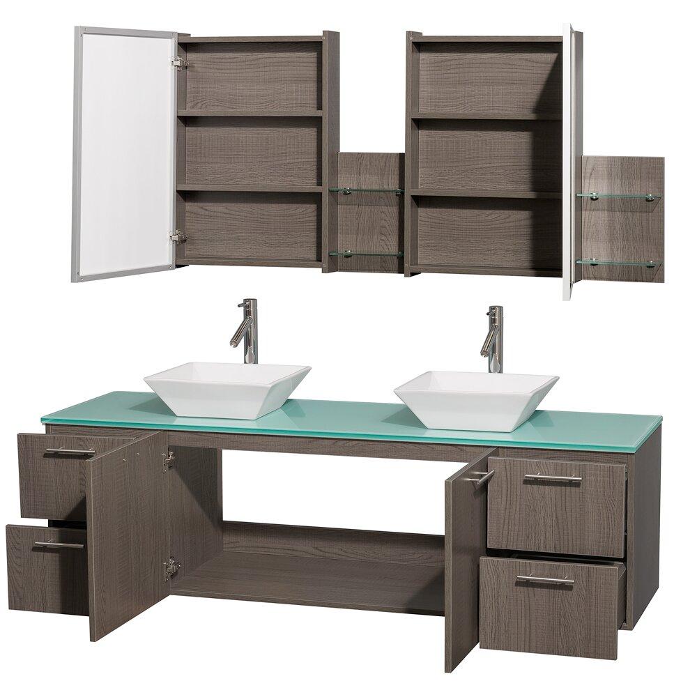 Wyndham Collection Amare 72 Double Grey Oak Bathroom Vanity Set With Medicine Cabinet Reviews