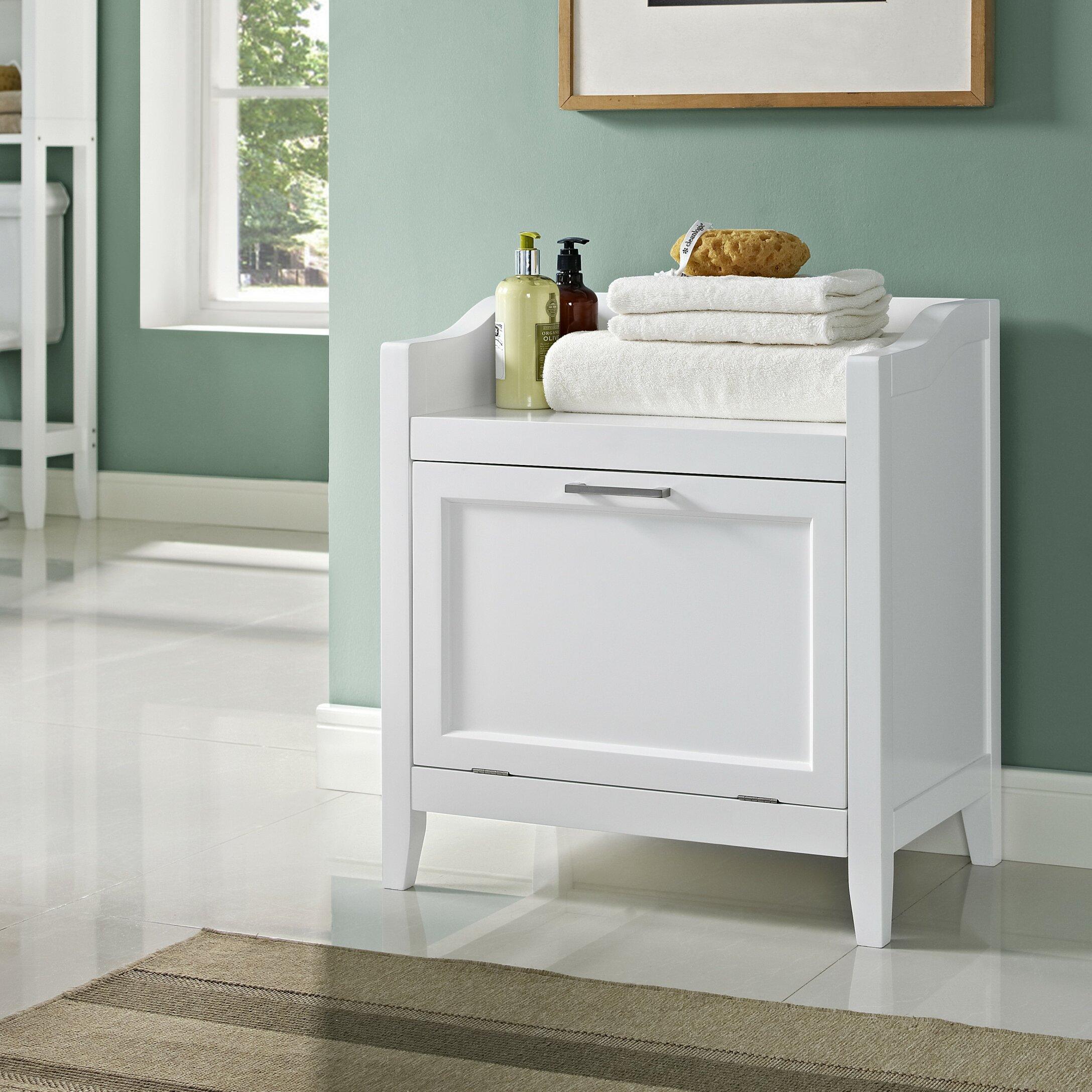 Bathroom storage cabinet with hamper - Simpli Home Avington Storage Cabinet Laundry Hamper