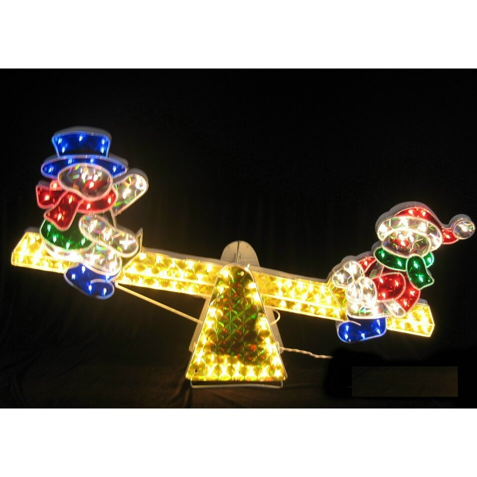 Lb International Sparkling Holographic Snowmen On See Saw