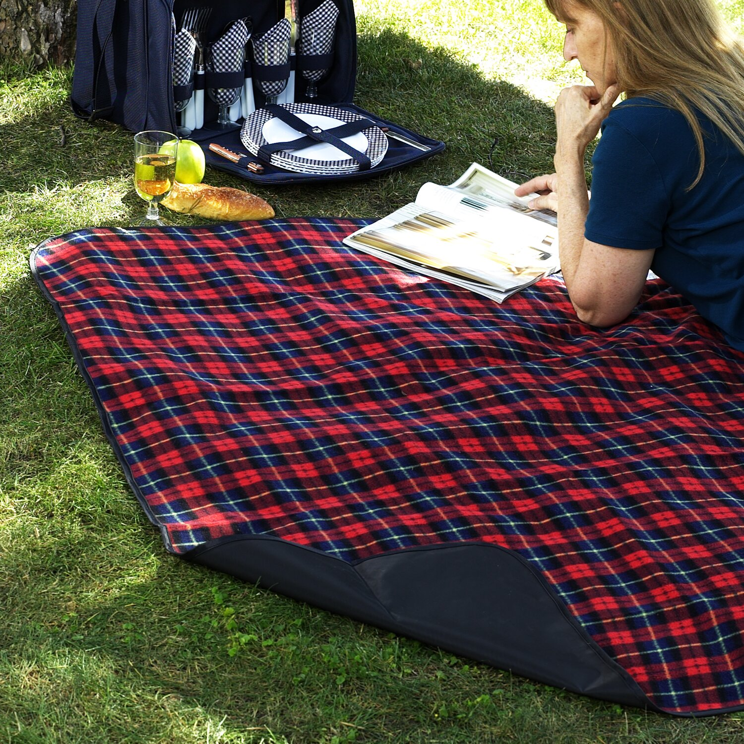 Picnic Blanket: Picnic At Ascot Picnic Blanket With Attached Case In