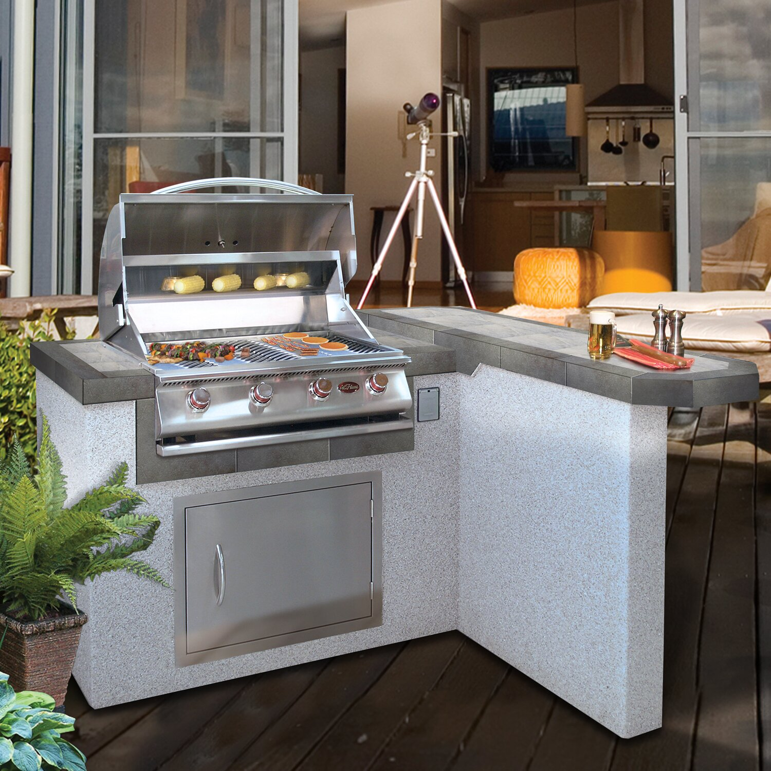 Outdoor Kitchen Island: CalFlame 4-Burner Propane Gas Grill With Cabinet