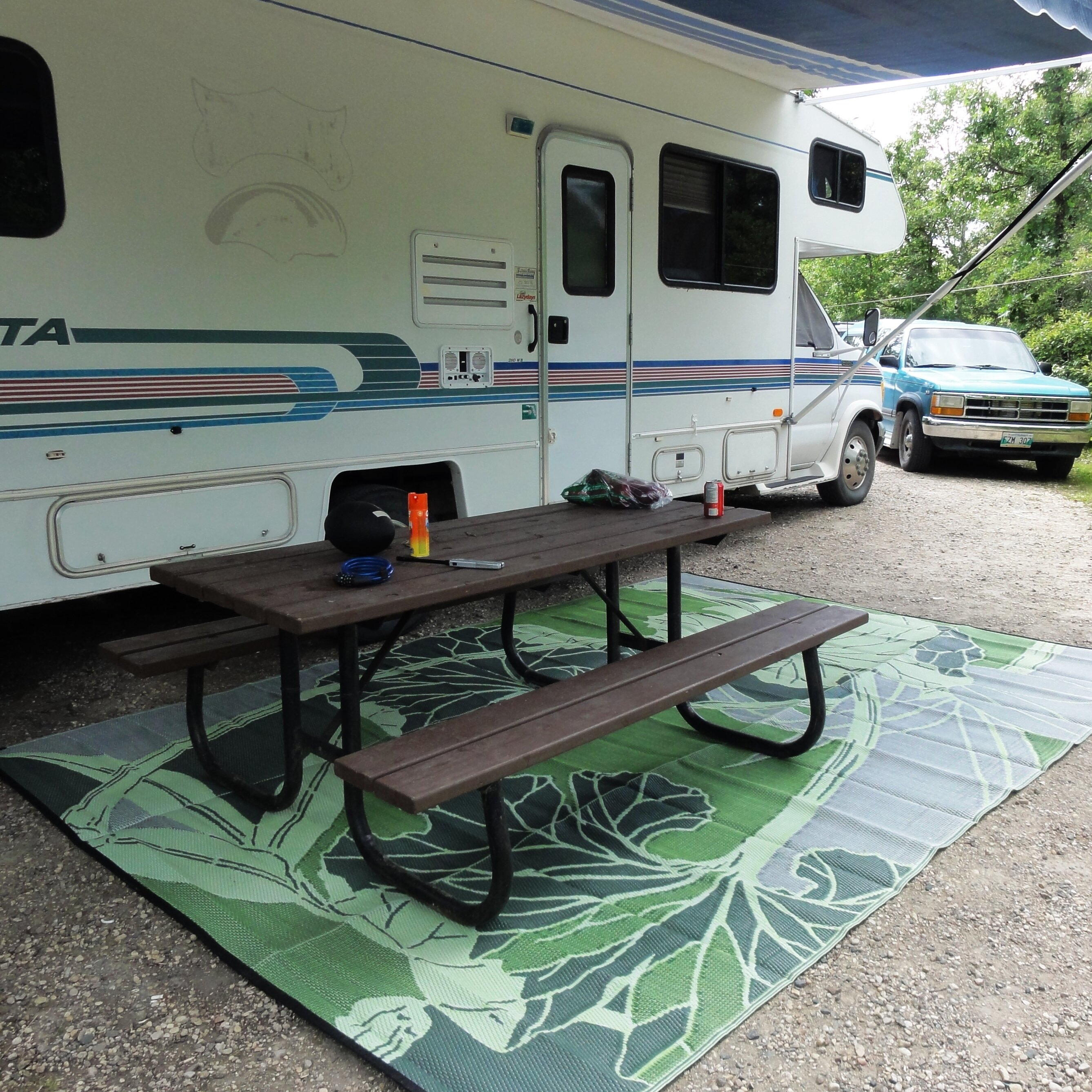 Awesome B.b.begonia Blossom RV/Camping/Patio Mat Green/Grey Outdoor Area Rug