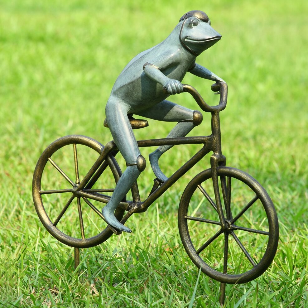 SPI Home Frog on Bicycle Garden Statue Reviews Wayfair