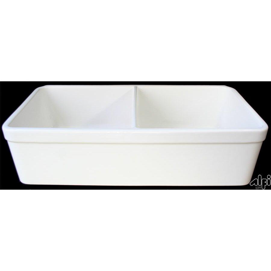 """alfi brand """" x ."""" double bowl farmhouse kitchen sink, Home decor"""