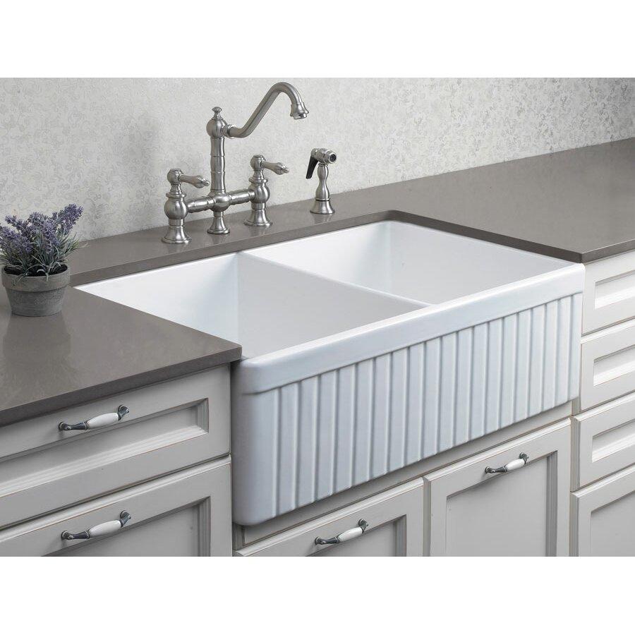 "alfi brand ."" x ."" double bowl fluted farmhouse kitchen, Home decor"