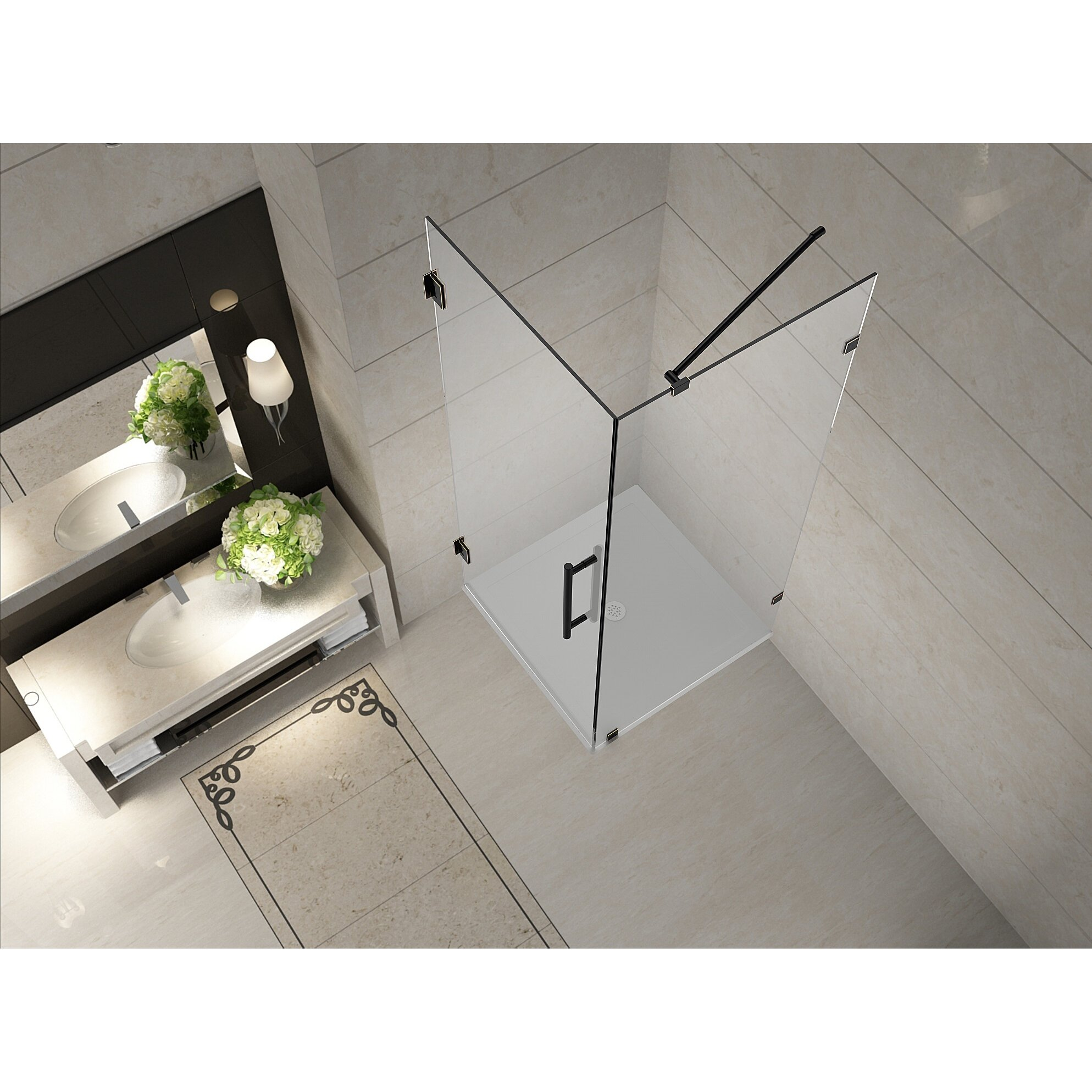Aston Aquadica  X  X  Completely Frameless Square Hinged - 36 x 36 corner shower stall
