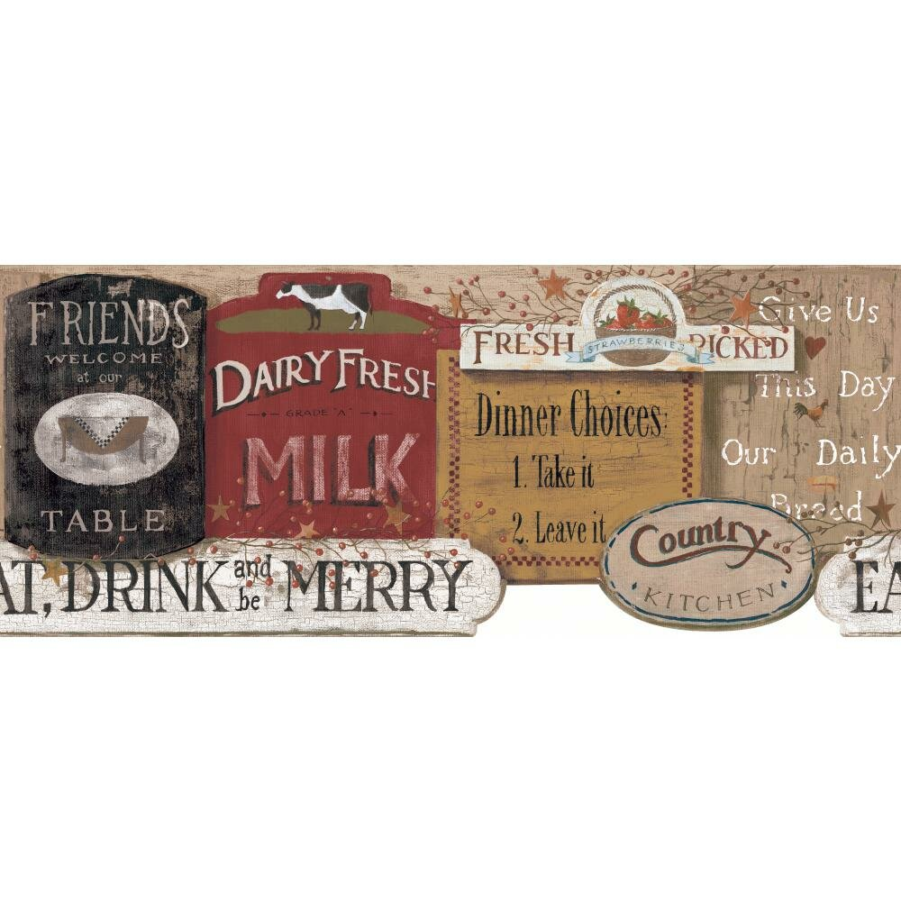 Kitchen Wallpaper Border York Wallcoverings Welcome Home Country Kitchen Sign 15 X 85