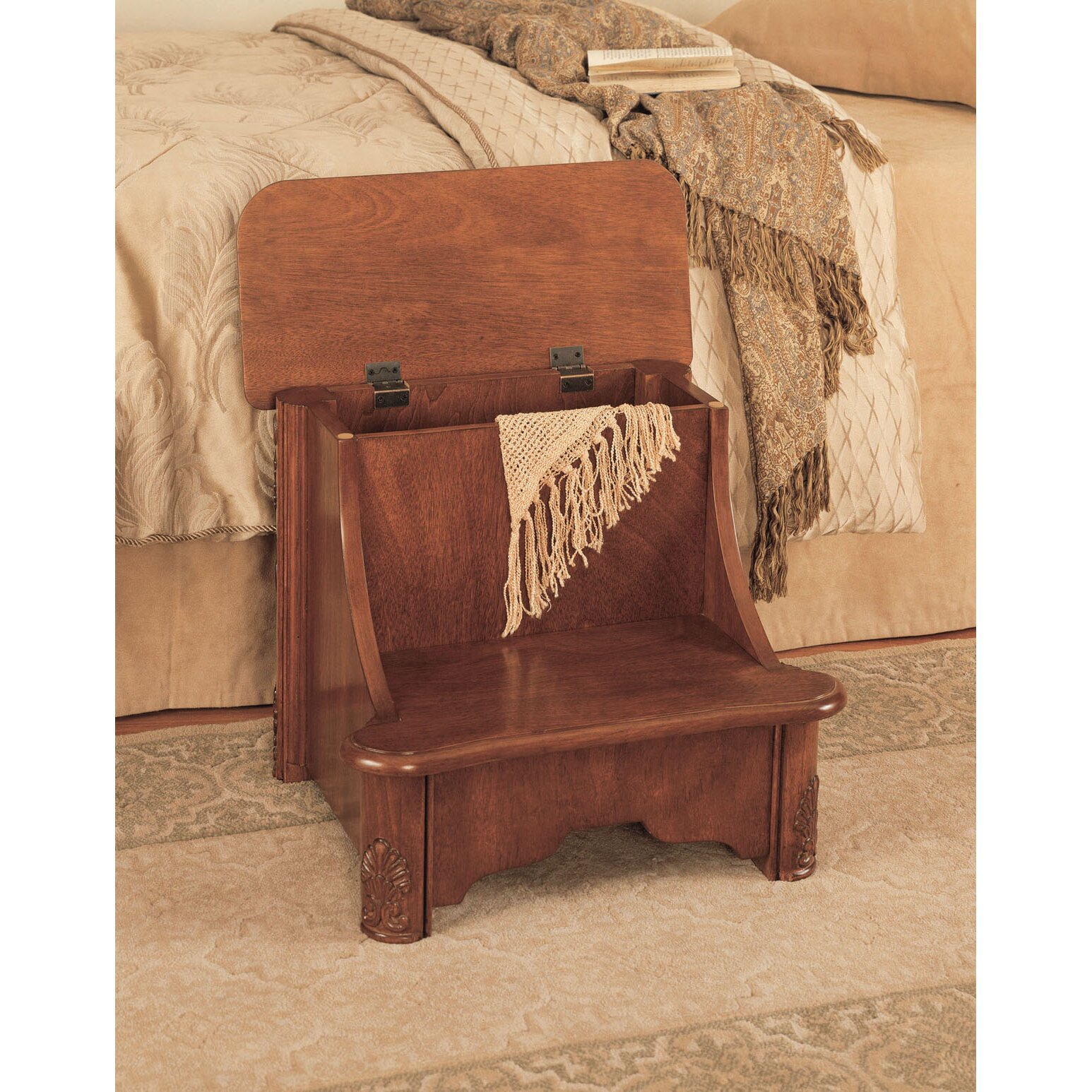 Powell Furniture Woodbury Mahogany 2 Step Manufactured Wood Bed Step Stool  with 200 lb