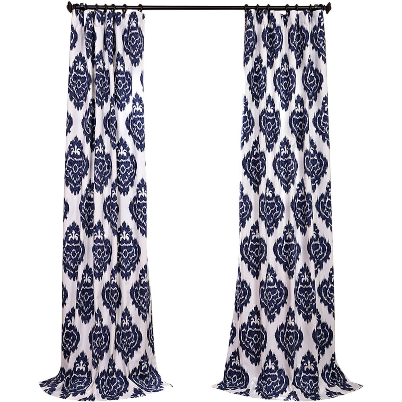 Ikat curtain panels - Half Price Drapes Ikat Printed Cotton Semi Opaque Single Curtain Panel