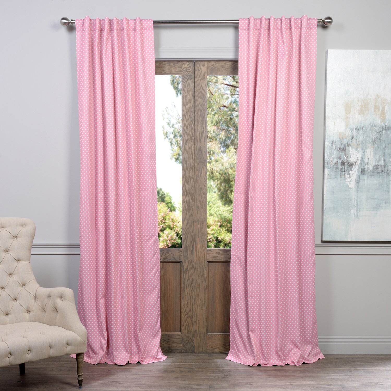 Pink and white polka dot curtains - Half Ds Polka Dot Blackout Thermal Single Curtain Panel