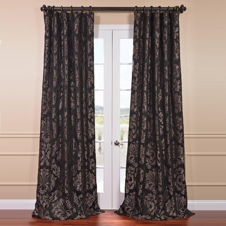 Dark purple patterned curtains - Astoria Jacquard Semi Opaque Single Curtain Panel