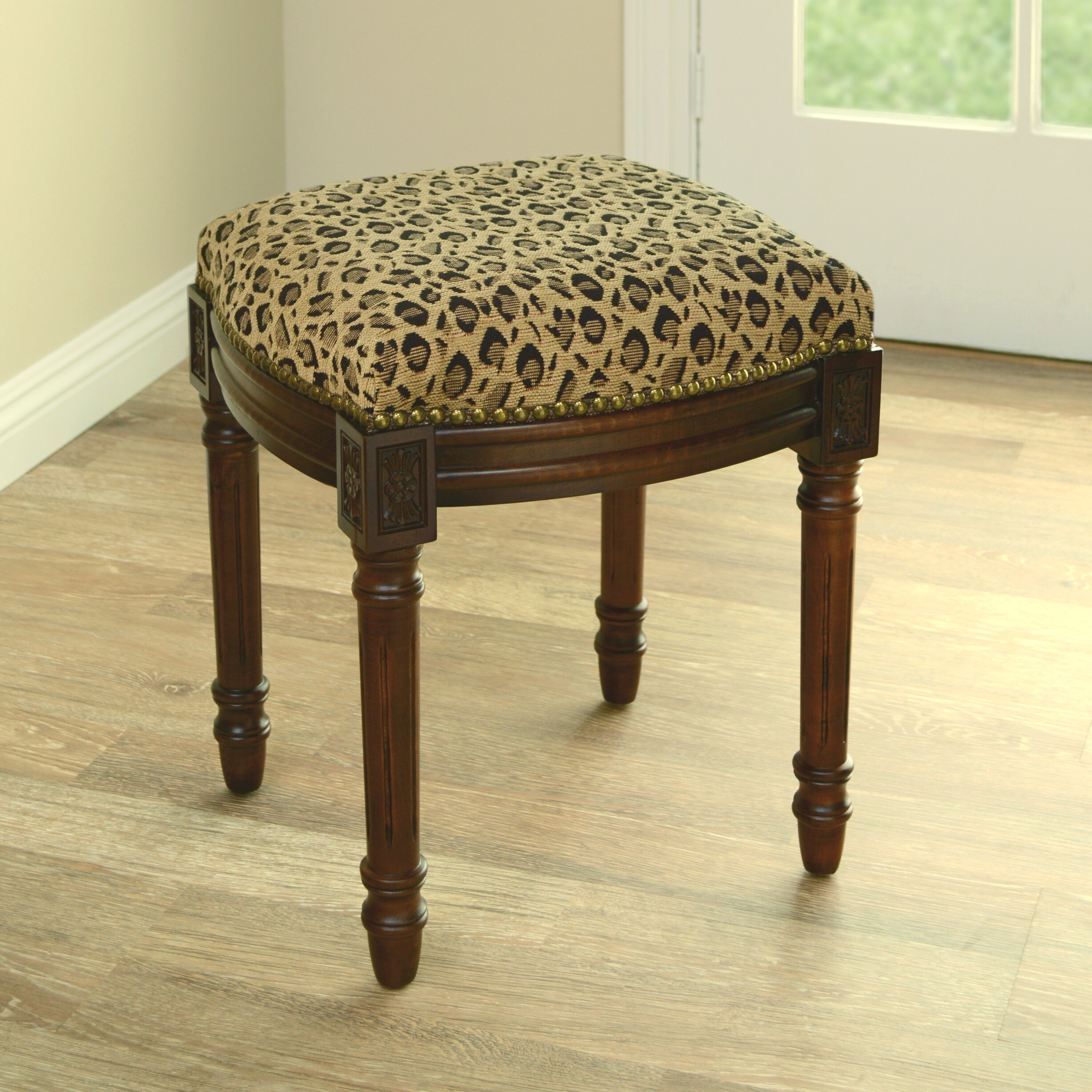 123 Creations Leopard Print Upholstered Vanity Stool