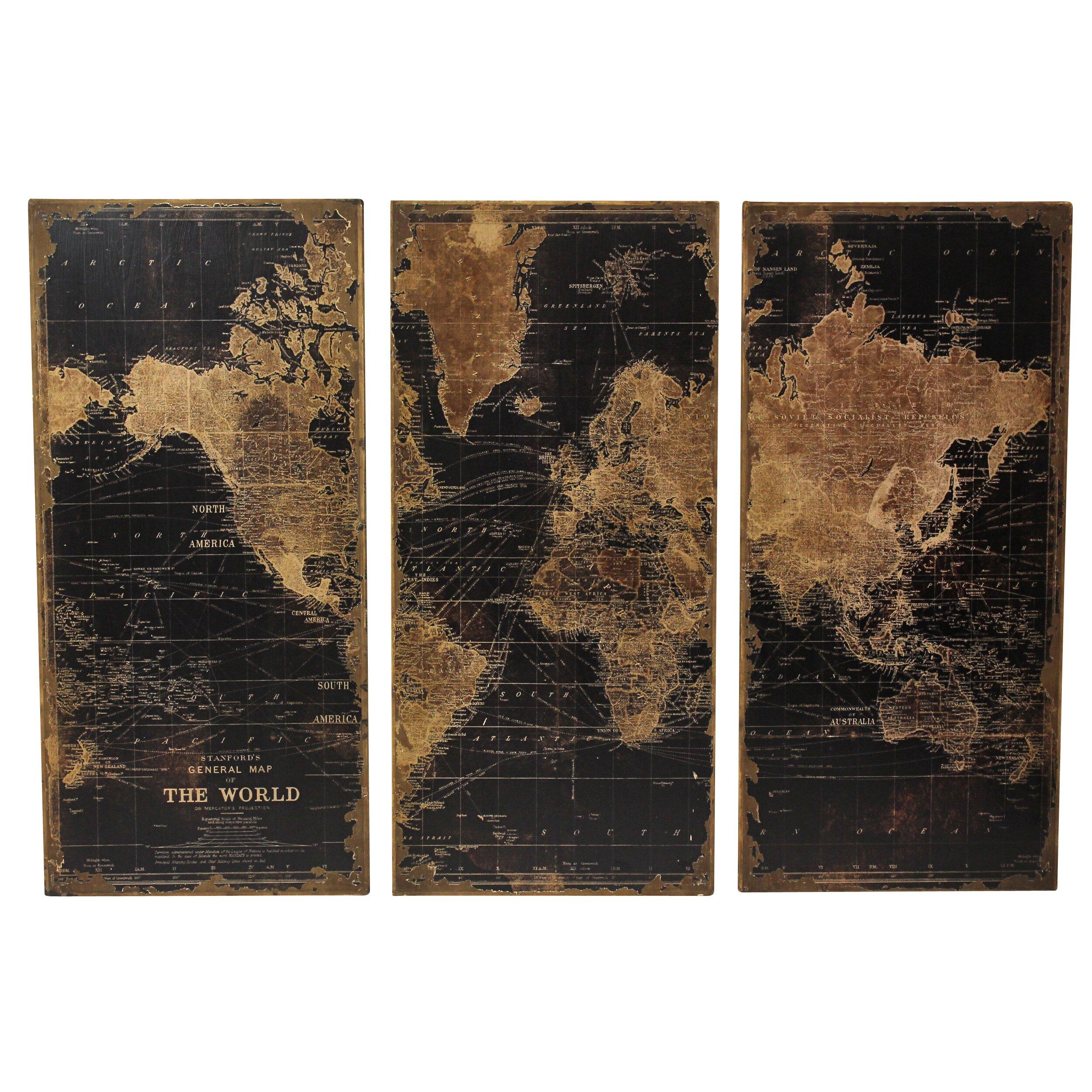 Aspire Stanford World Map 3 Piece Graphic Art Set