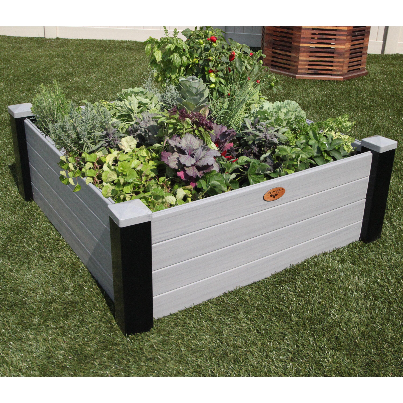 Raised Patio Planter: Gronomics Maintenance Vinyl Raised Garden Planter