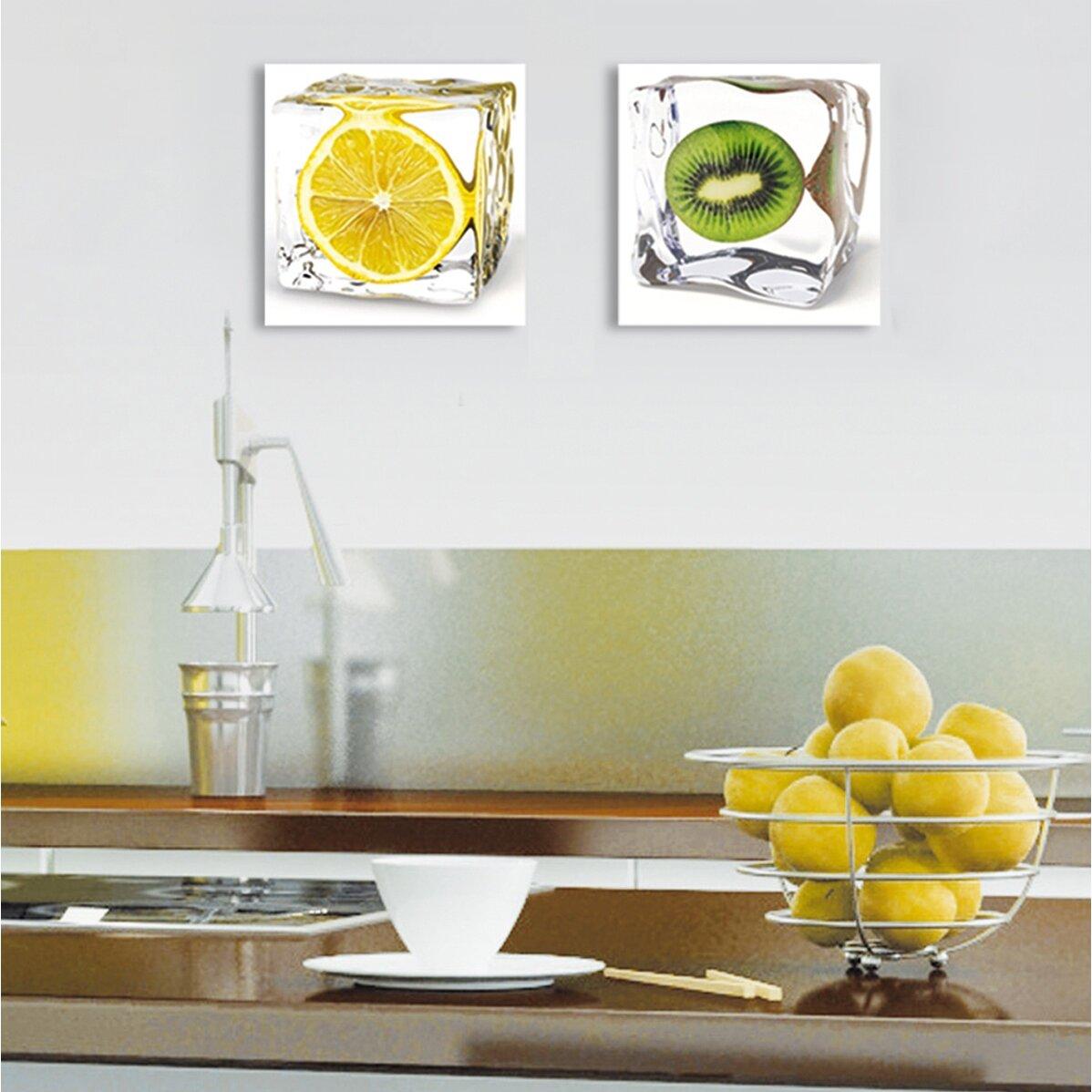 Platin art deco glass iced fruits 2 piece photographic print set reviews wayfair - Deco glace ...