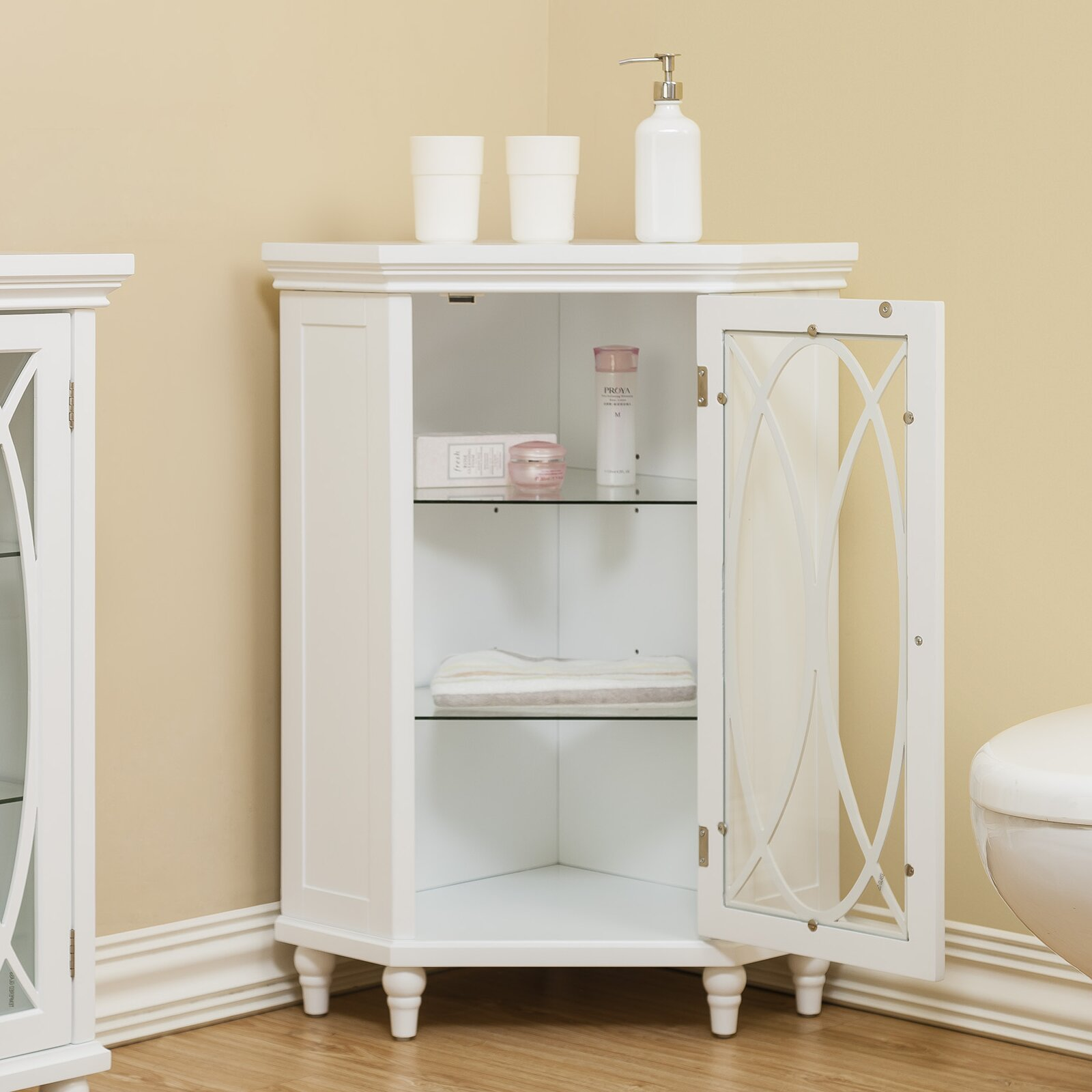 Bathroom Storage Cabinets Floor Elegant Home Fashions Bourbon Corner Floor 2475 W X 245 H