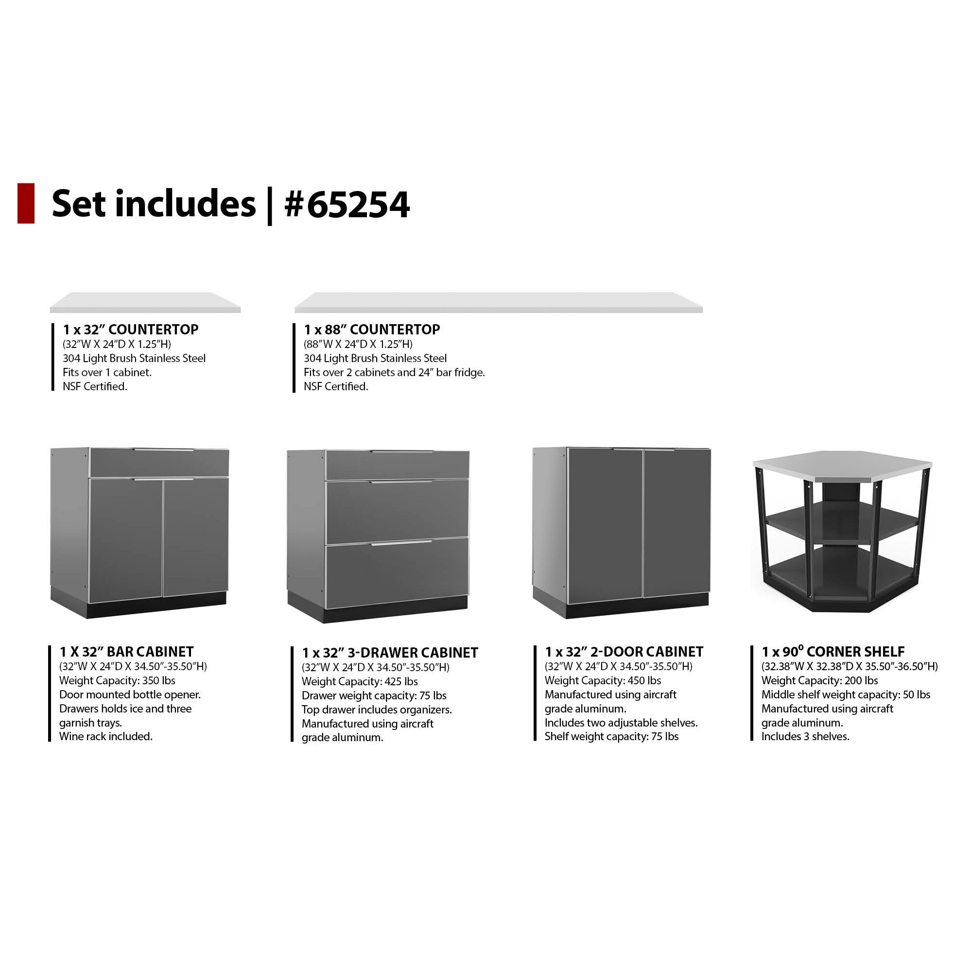 newage products 184 w x 24 d 6 pieces aluminum outdoor kitch