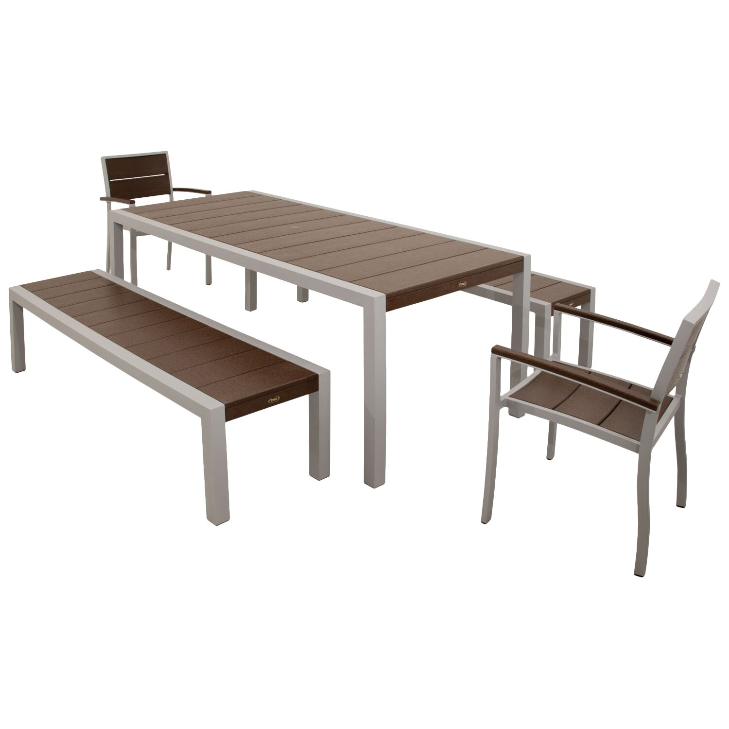 Very Impressive portraiture of Trex Surf City 5 Piece Bench Dining Set & Reviews Wayfair with #422C1F color and 1500x1500 pixels