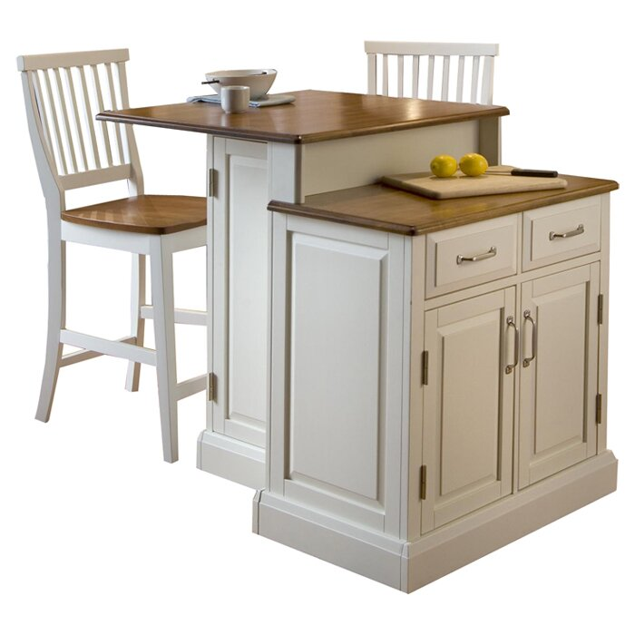 Home Styles Woodbridge 3 Piece Kitchen Island Set With Wood Top Reviews