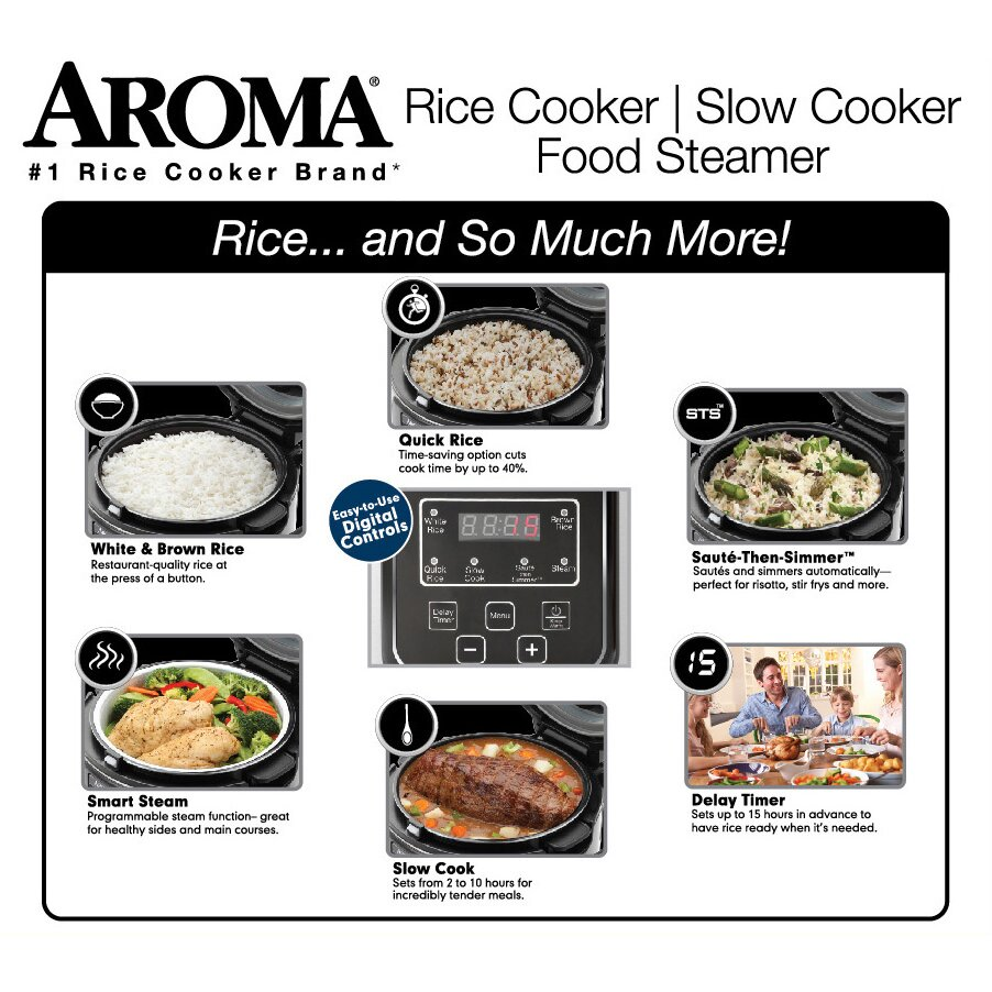 Aroma 16cup Slow Cooker, Food Steamer And Rice Cooker Aroma 16cup Slow  Cooker, Food