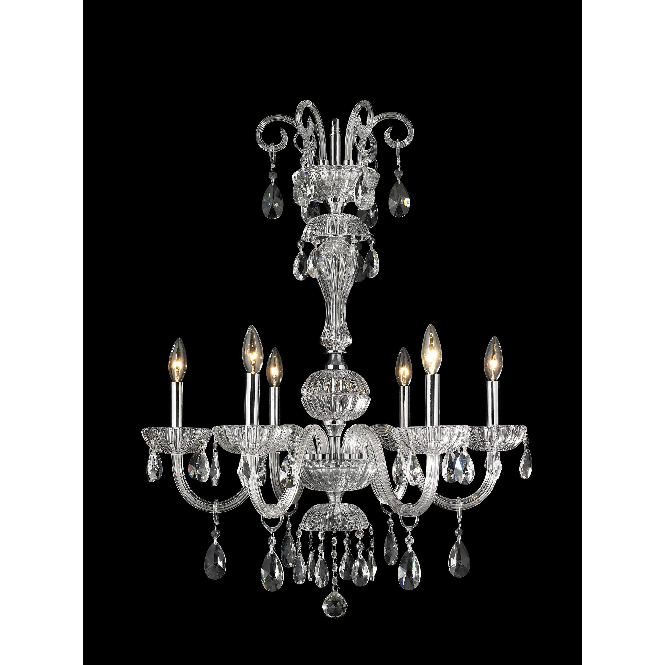 Worldwide lighting carnivale 6 light crystal chandelier for 6 light crystal chandelier