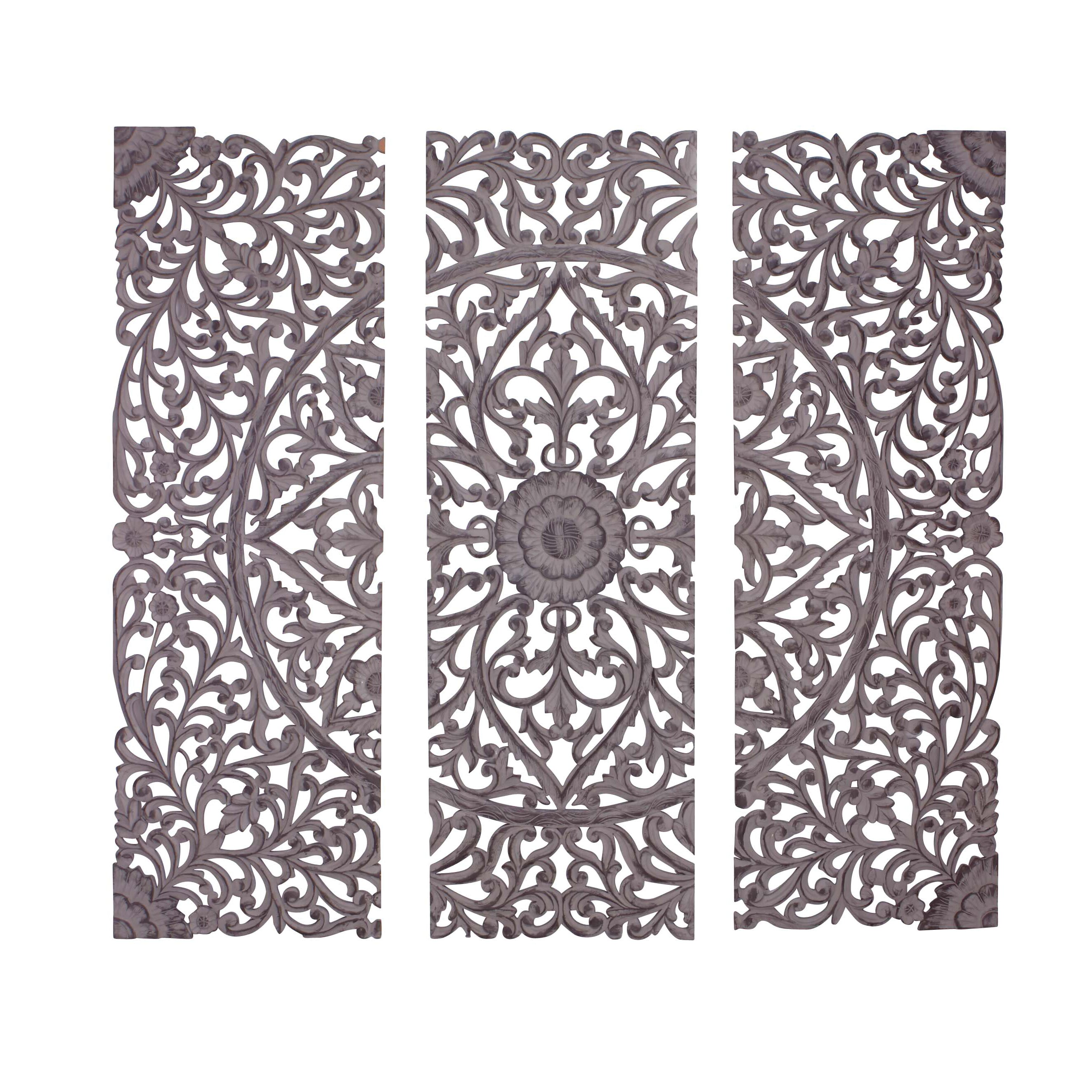 Wood Carved Wall Decor Woodland Imports 3 Piece The Must Have Wood Carved Panel Wall