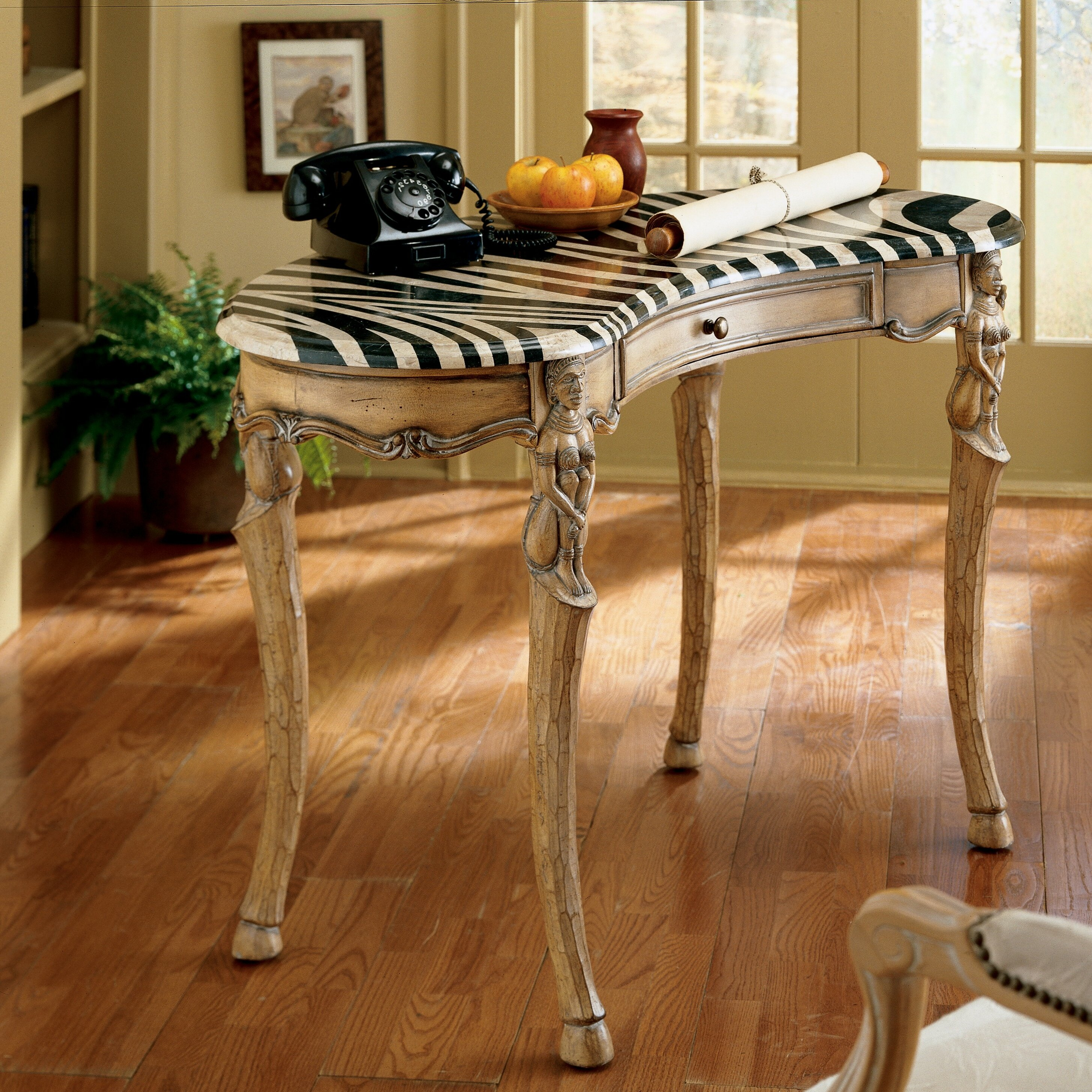 black and white dining table with well made wooden dining table