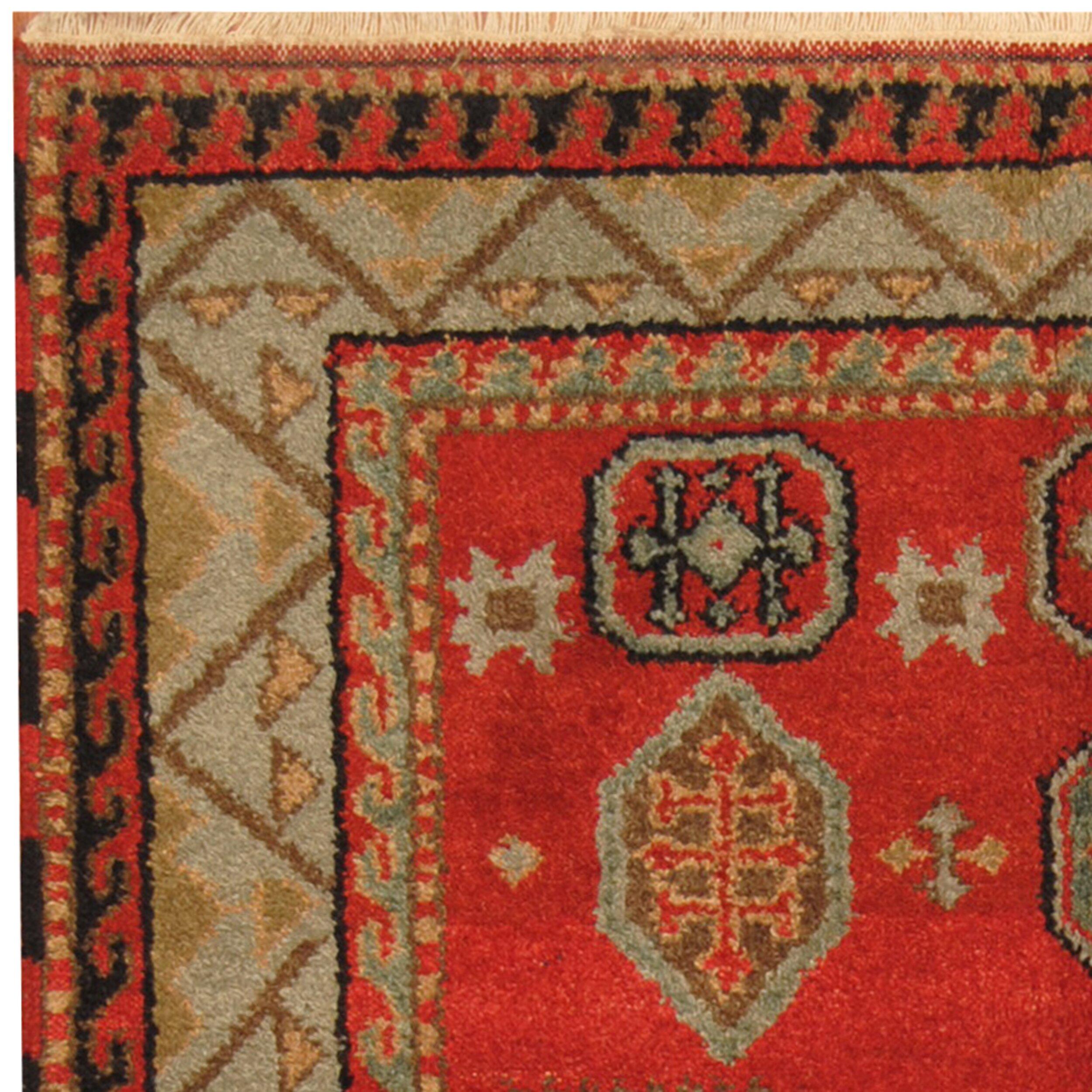 Herat Oriental Kazak Hand Knotted Red Light Blue Area Rug