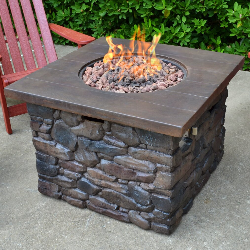 Tortuga Outdoor Yosemite Faux Wood Stone Propane Fire Pit