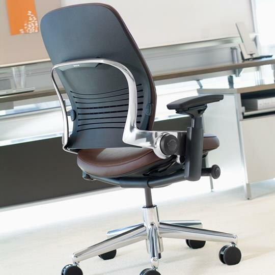 steelcase highback leather desk chair - Gray Leather Office Chair