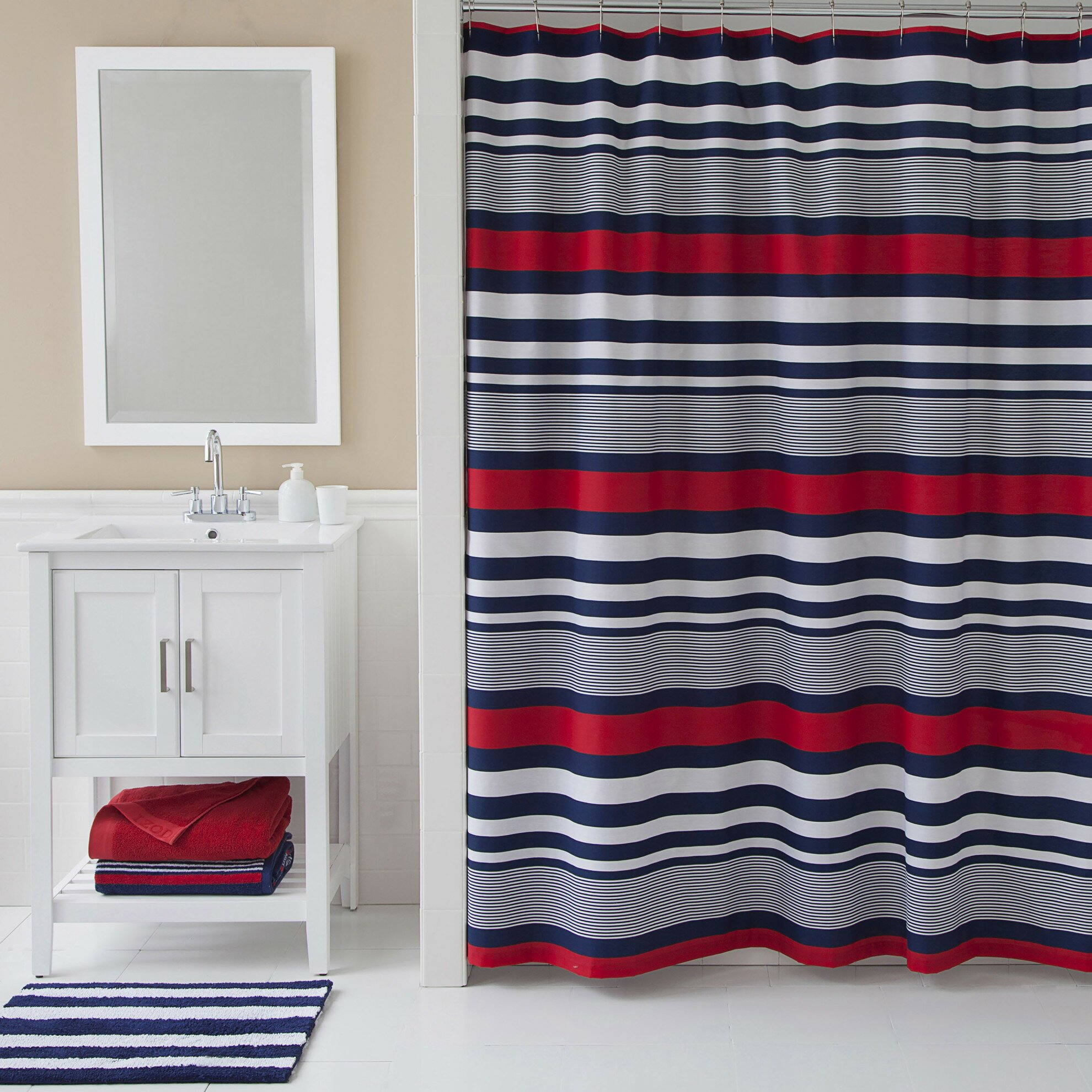Yellow stripe shower curtain - Varsity Stripe Shower Curtain