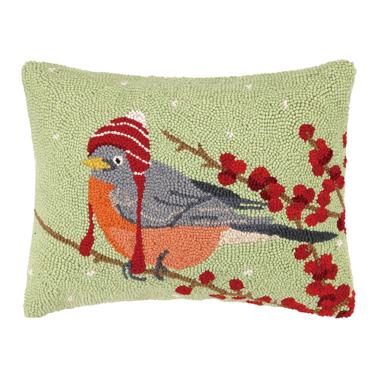 Peking Handicraft Winter Bird Hat Hook Wool Throw Pillow & Reviews Wayfair