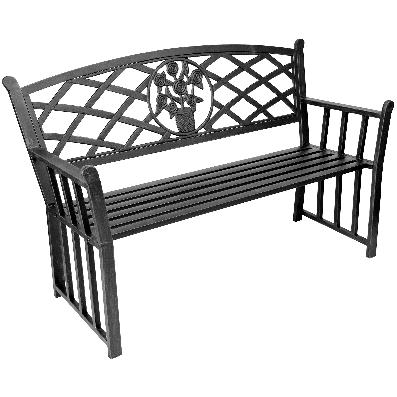 Jordan Manufacturing Bouquet Metal Garden Bench Reviews – Outdoor Iron Bench