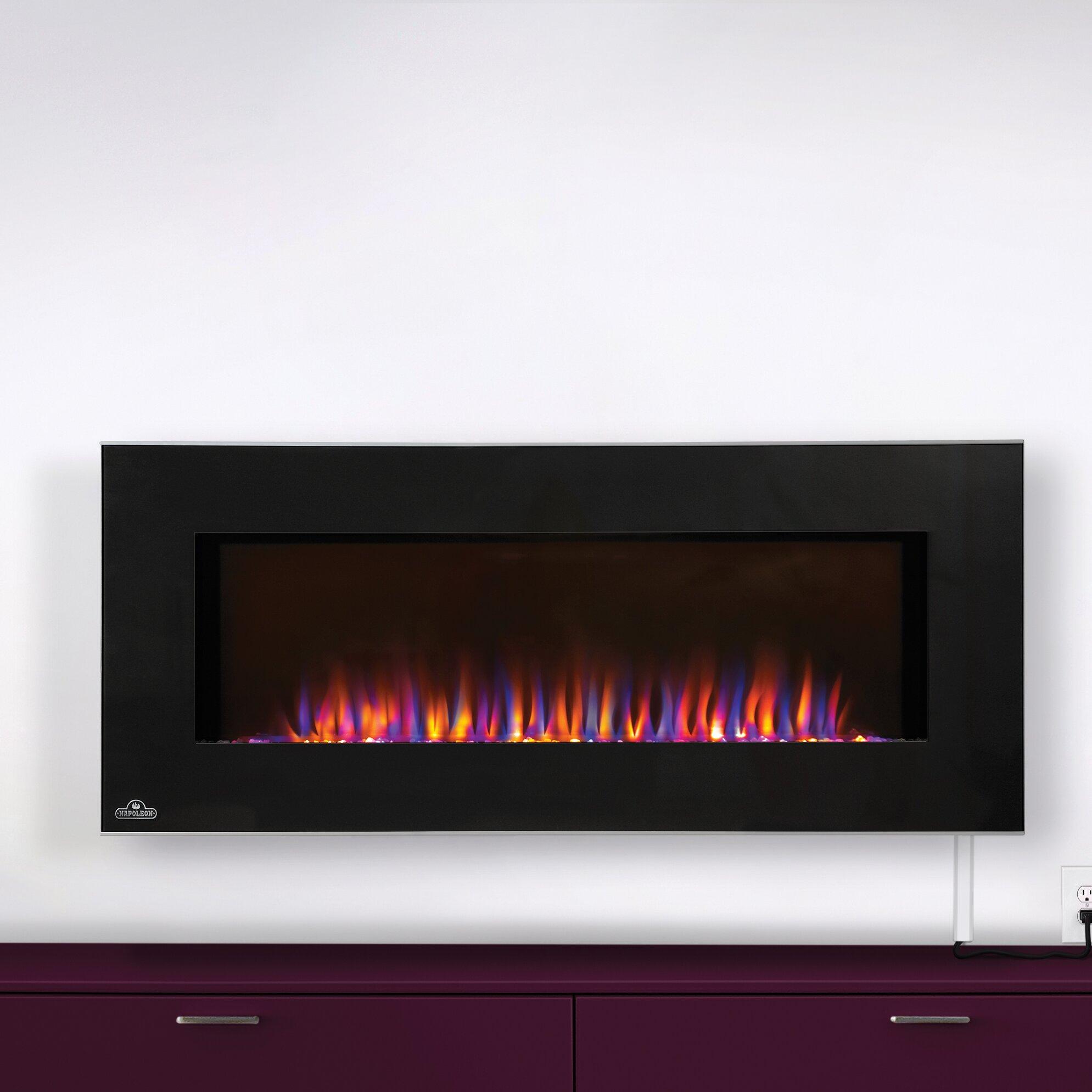 napoleon azure wall mount electric fireplace wayfair. Black Bedroom Furniture Sets. Home Design Ideas