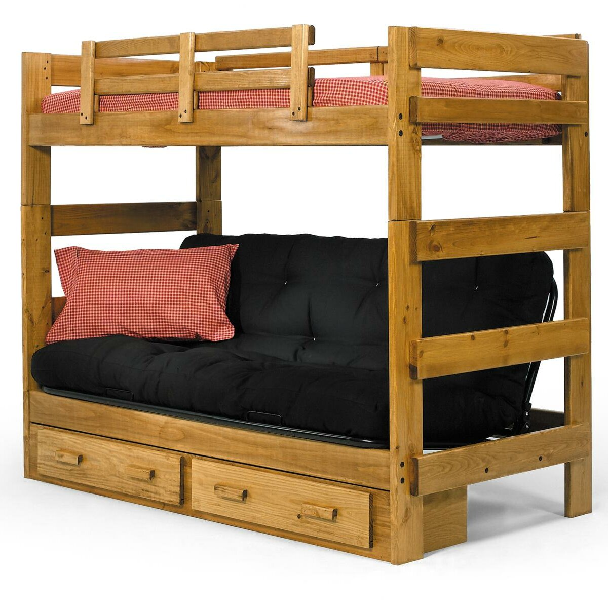 Bunk beds for kids with stairs - Twin Futon Bunk Bed With Storage