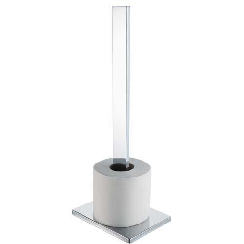 Haceka edge freestanding toilet roll holder in chrome Glass toilet roll holder