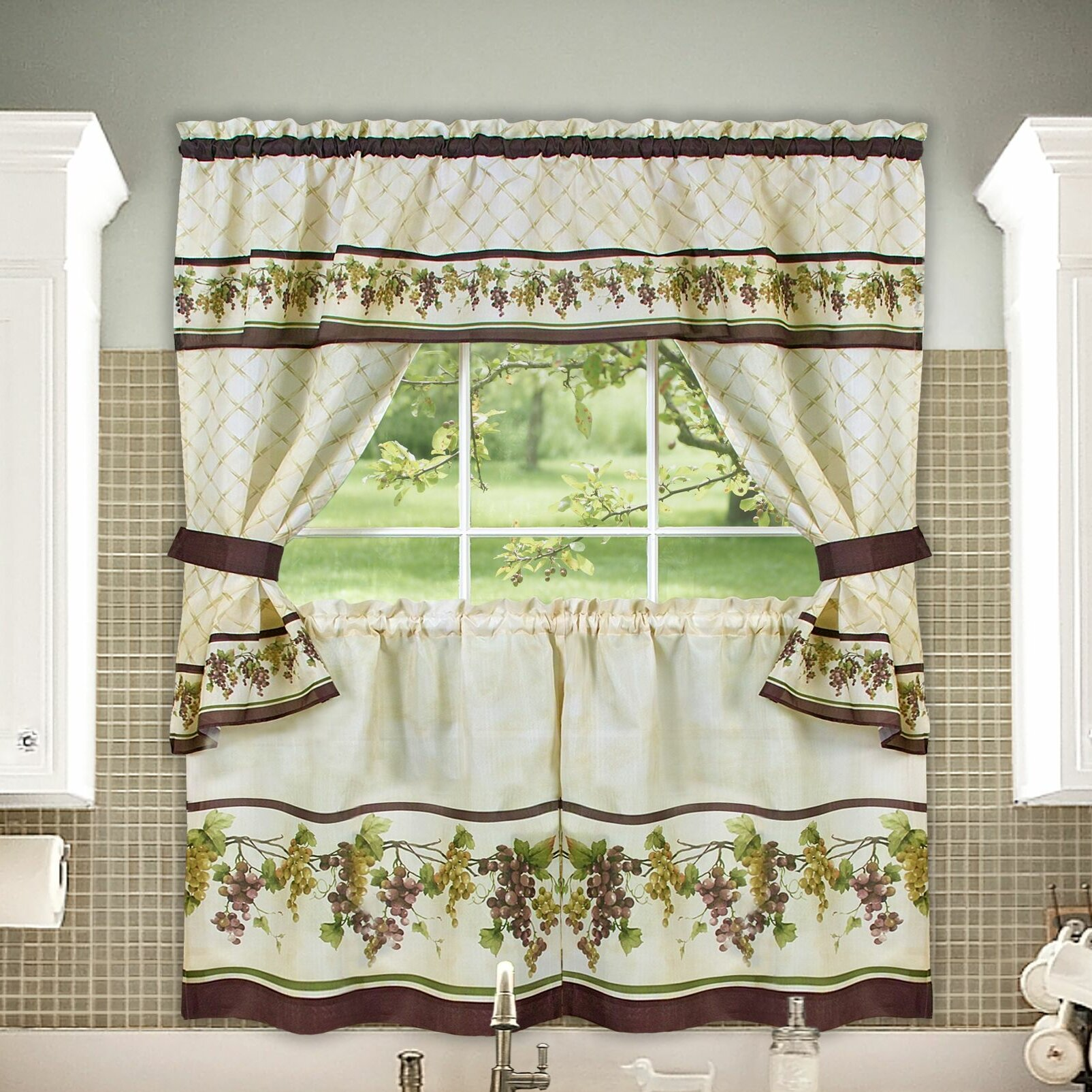 """Achim Importing Co Tuscany Cottage 57"""" Valance And Tier"""