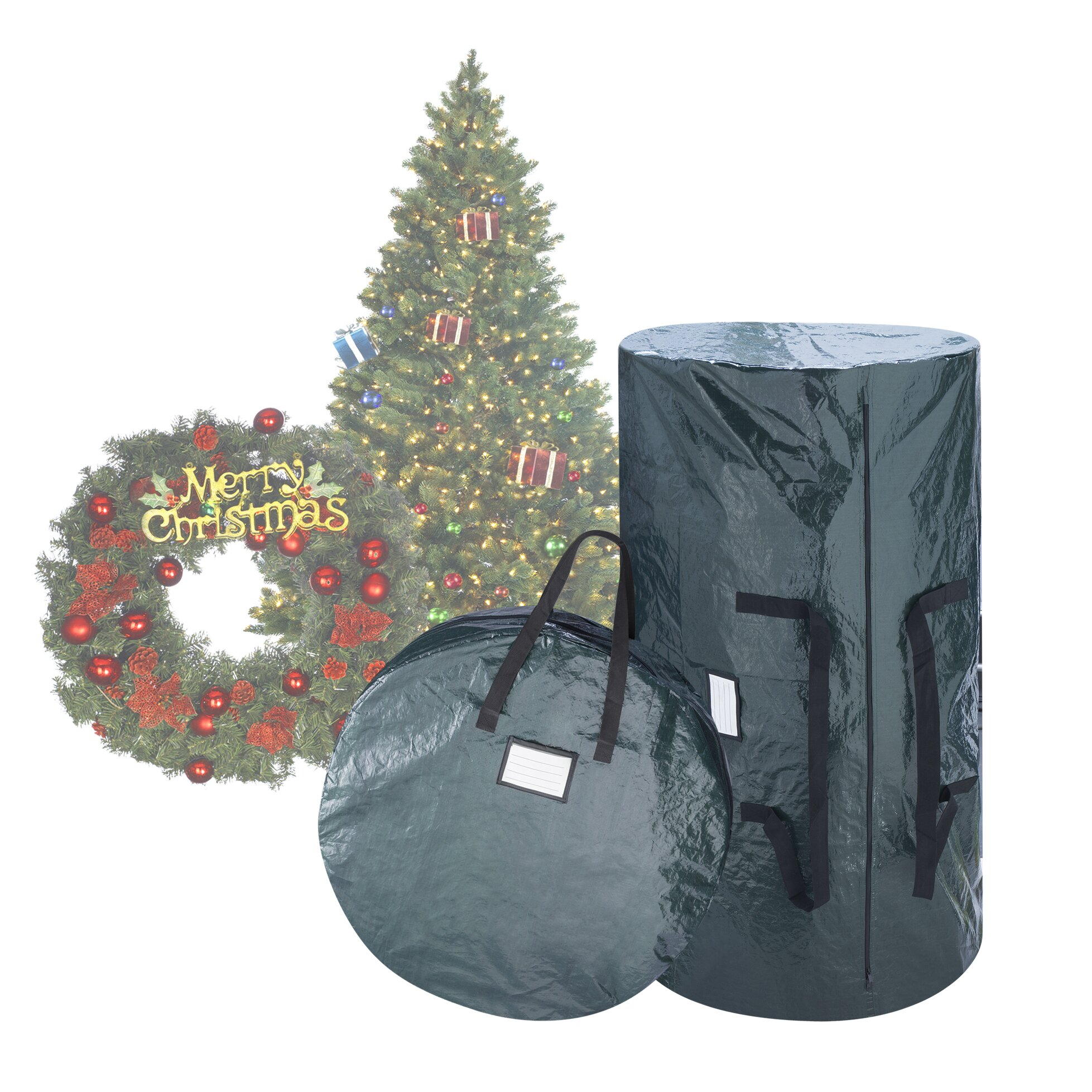 Storage bags for christmas trees - Elf Stor 2 Piece Deluxe Green Christmas Tree Storage Bag Set