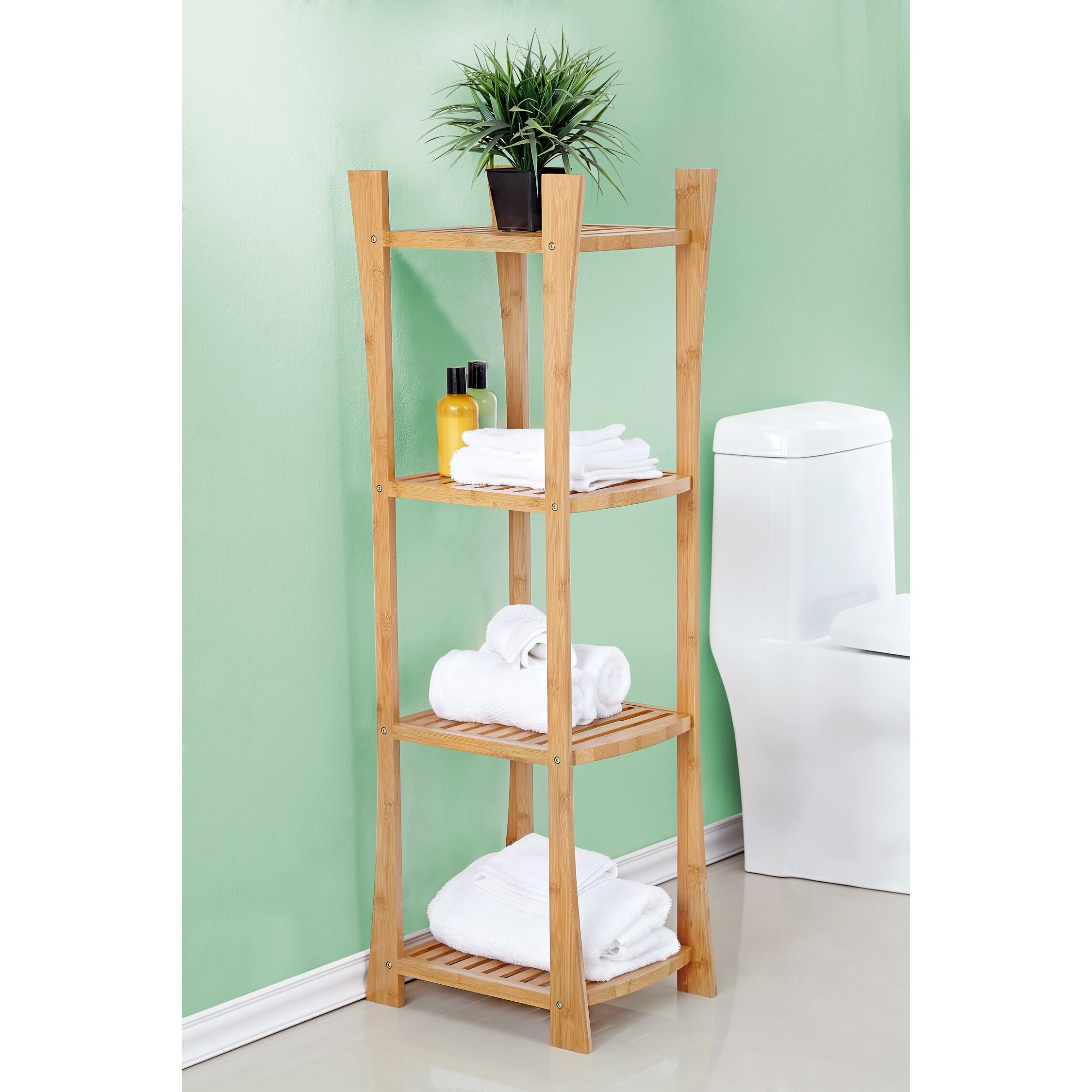 Bathroom Shelf Fox Hill Trading Bamboo 15 W X 45 H Bathroom Shelf Reviews