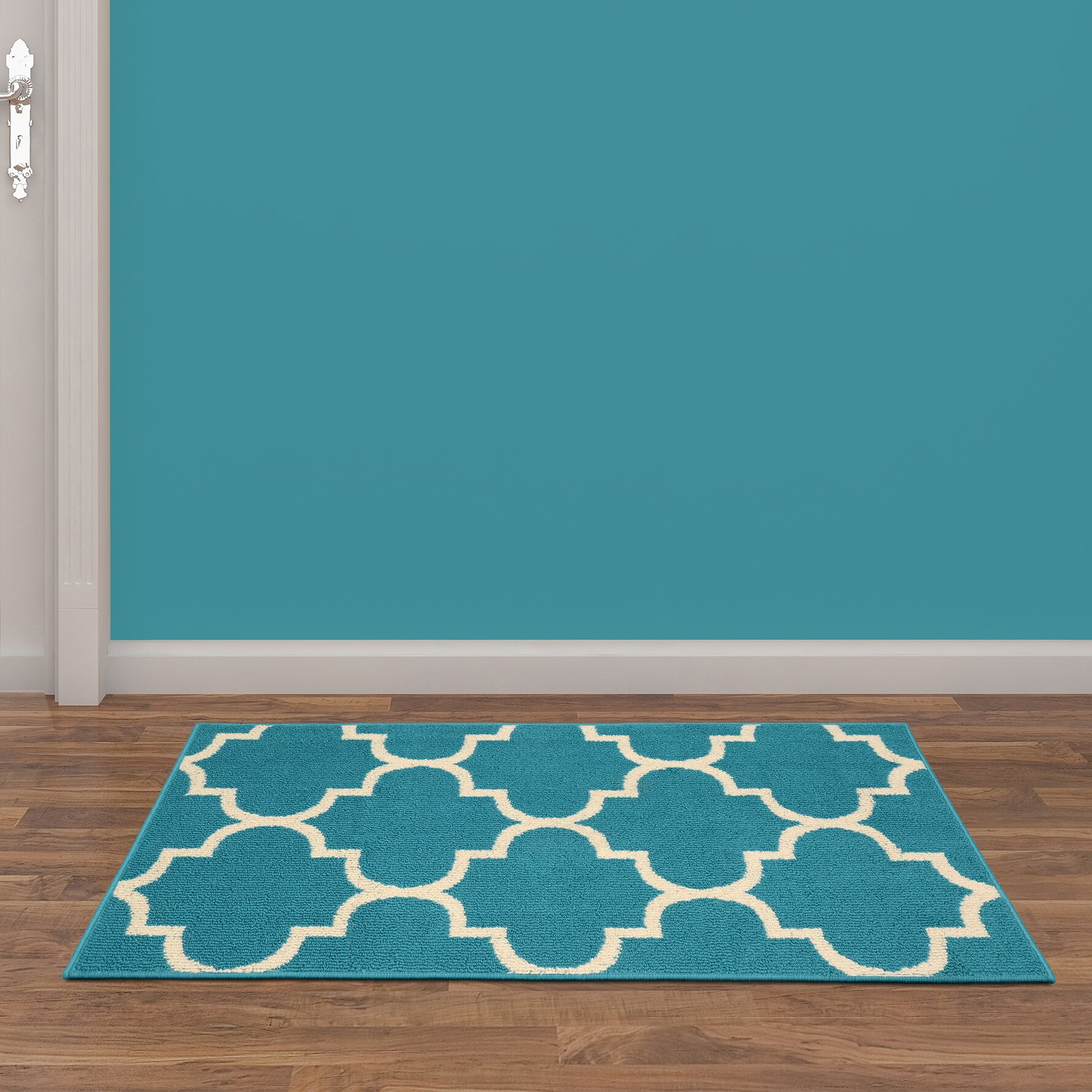 Garland Rug Large Quatrefoil Teal/Ivory Area Rug & Reviews
