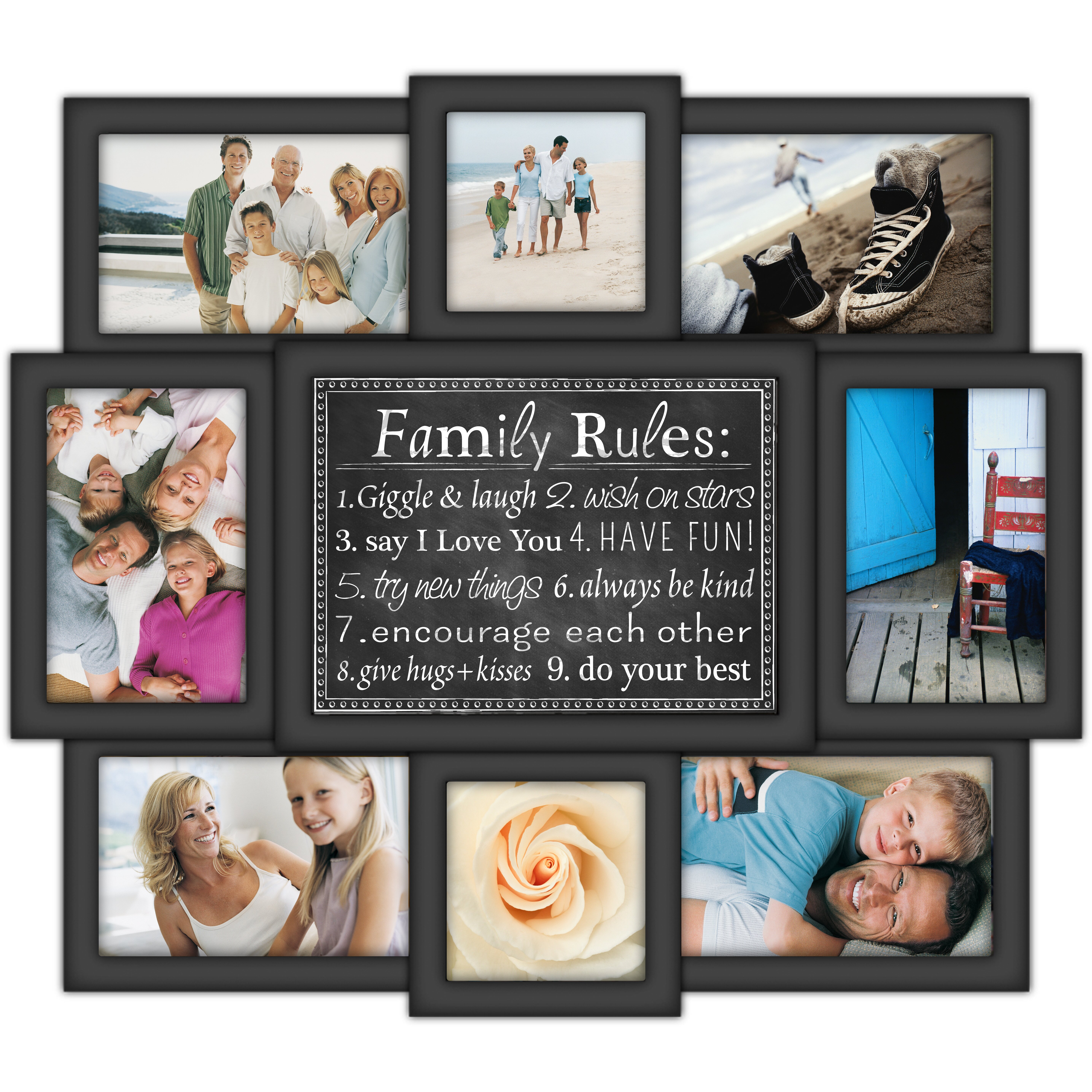family rules 8 slot 4 x 6 picture frame